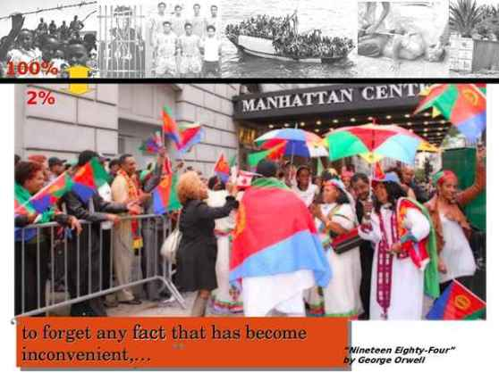 Life of the 100% vs. the 2%. Bottom photo: Government supporters celebrate visit of Eritrean dictator Isaias in New York Sept. 2011. Top strip: life of the majority Eritreans