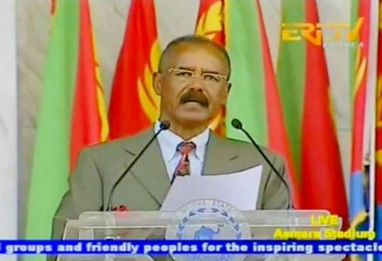 President Isaias Afewerki delivering speech on the occasion of speech on the occasion of the 23rd Independence day celebrations. Also the 23rd year of his presidency.