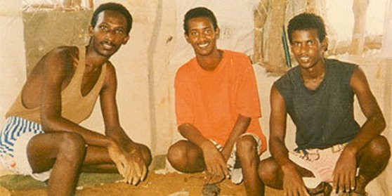 Left to right: Paulos Eyassu, Isaac Mogos, and Negede Teklemariam; in-chains for their faith since September 24 1994. Photo taken sometime 1996 (photo from https://www.facebook.com/pages/Jehovahs-Witnesses-in-Sawa-Prison-Camp-in-Eritrea)