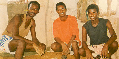 Left to right: Paulos Eyassu, Isaac Mogos, and Negede Teklemariam. imprisoned for their faith since September 24 1994. Photo taken sometime 1996 (photo credit: https://www.facebook.com/pages/Jehovahs-Witnesses-in-Sawa-Prison-Camp-in-Eritrea)